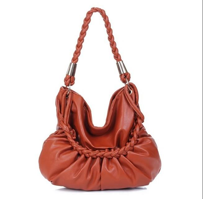 Fashion Solid Color Weave Lady�s Handbag Brown