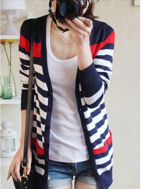 Fashion Stripe Knit Long-sleeve Jacket (Blue)