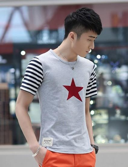 Fashion Stripe Sleeve Star Printing Men T-shirt (Grey)