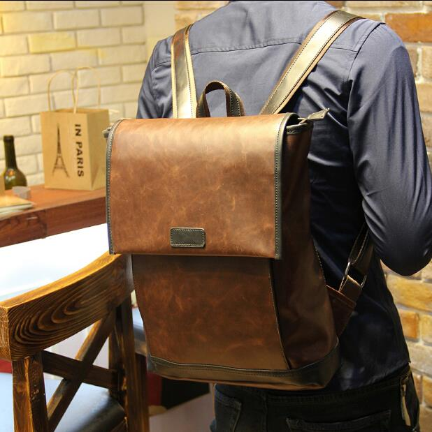 Fashion trend of large-capacity crazy horse leather men backpack