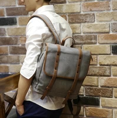 Fashion trend men casual canvas travel backpack