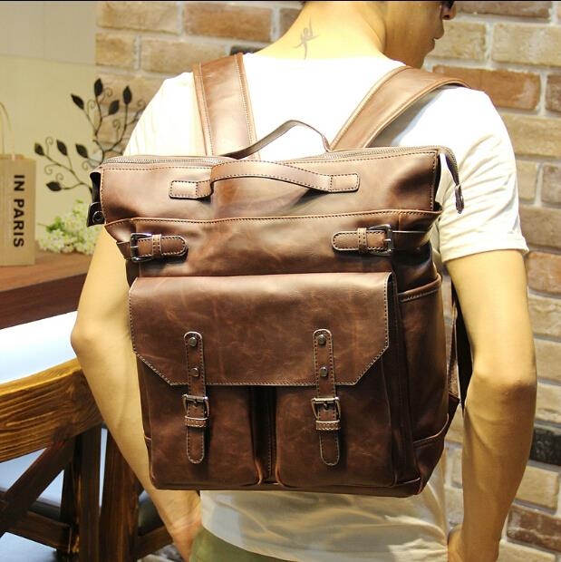 Fashion trend sports men leather casual backpack
