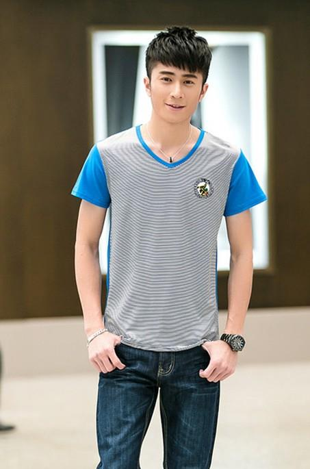 Fashion V Stripe Men T-shirt (Sky Blue)
