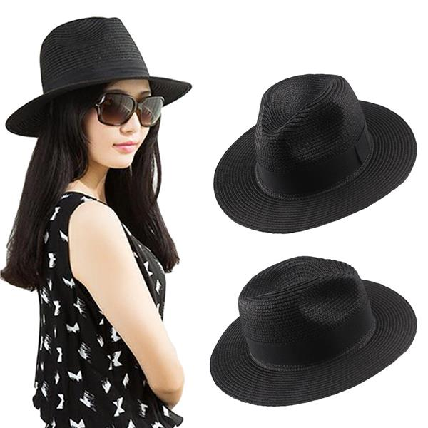 New Fashion Women Straw Hat Ribbon Trim Wide Brim Foldable Summer