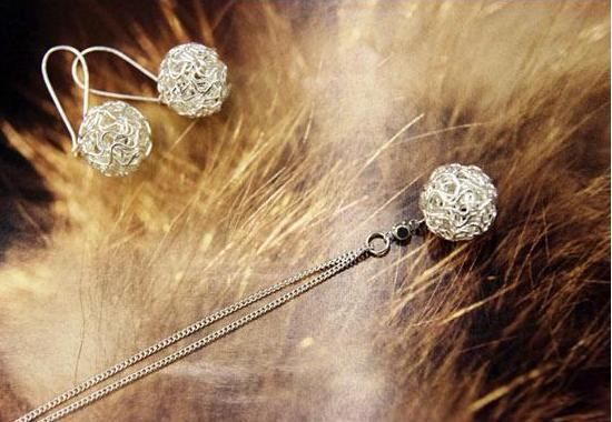 Fashionable Braided Silver Ball Pendant + Earrings Set FREE SHIPPING