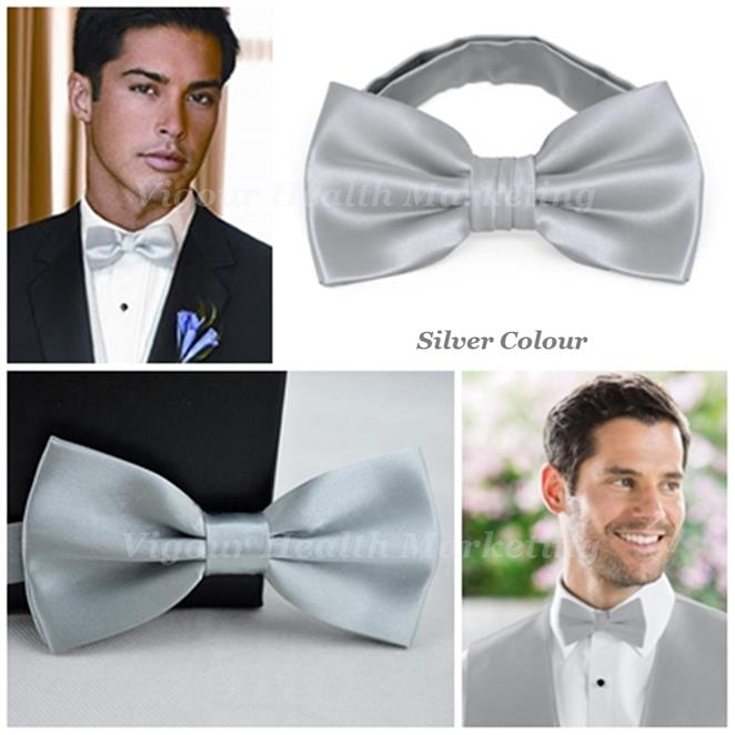 Fashionable Classic Adjustable Bow Tie For Men Women Kids - Silver