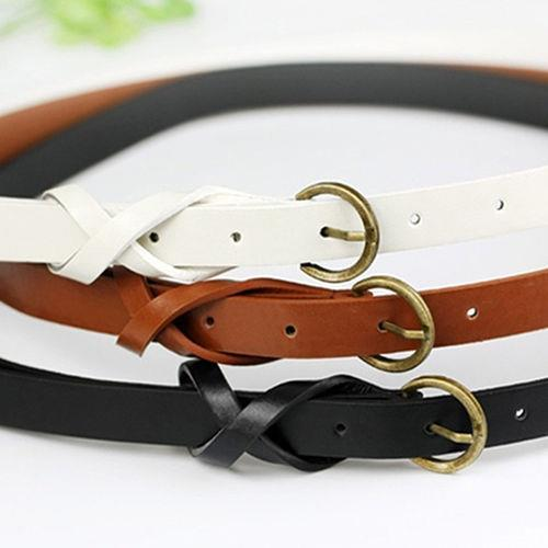 Fashionable Loop Bow Thin Leather Narrow Skinny Waistband Belt