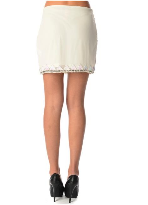 Fashionable Plus Size Embellished Mini Skirt - White AU/UK14