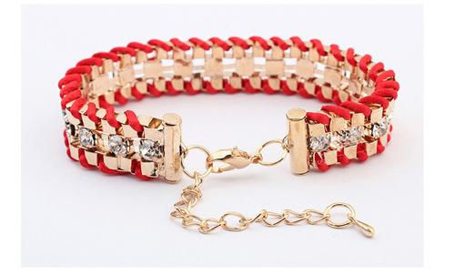 Fashionable rhinestone bracelet - Red