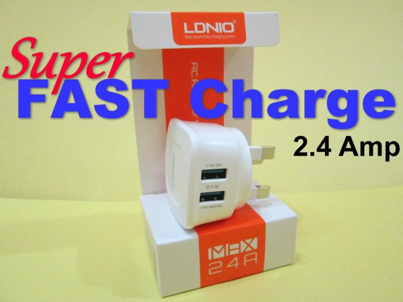 Fast Charger 2.4A Dual USB Port - LDNIO Travel fast charger (3-pin)