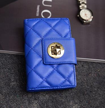 Female short money wallet Lingge wallet rotating locking clutch