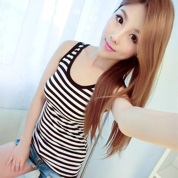 Female Slim Bottoming / Outer Wear Sleeveless Cotton Shirt