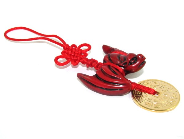 Feng Shui Fortune Bat with Gold Coin Hanging for Money Luck