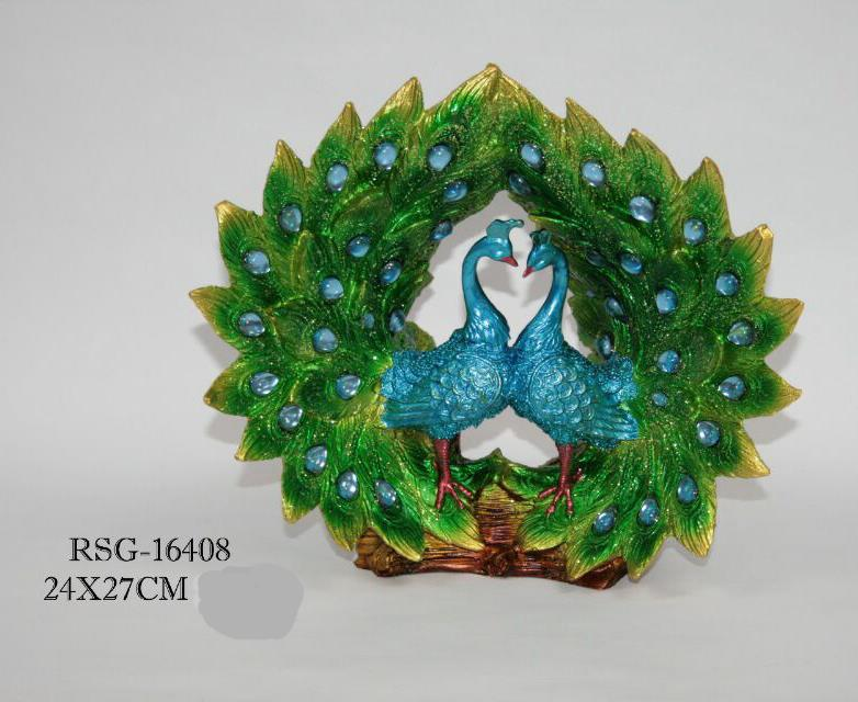 FENG SHUI POLYRESIN PEACOCKS DECORATION XM16408 HOME DECO GARDEN