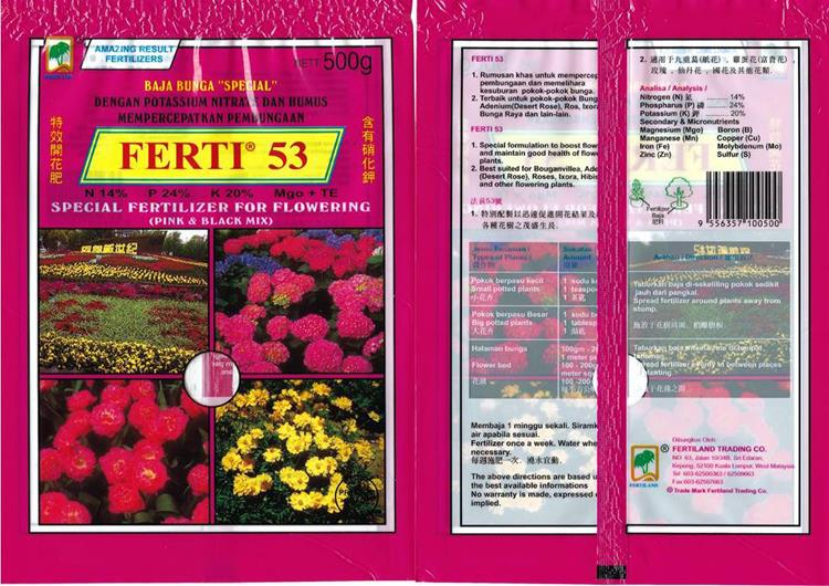 FERTILIZER - FERTI 53 SPECIAL FOR FLOWERING (PINK & BLACK MIX) 500g