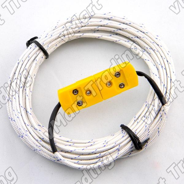 Fiberglass Insulated Type-K Extension Thermocouple [10M/20M/30M]