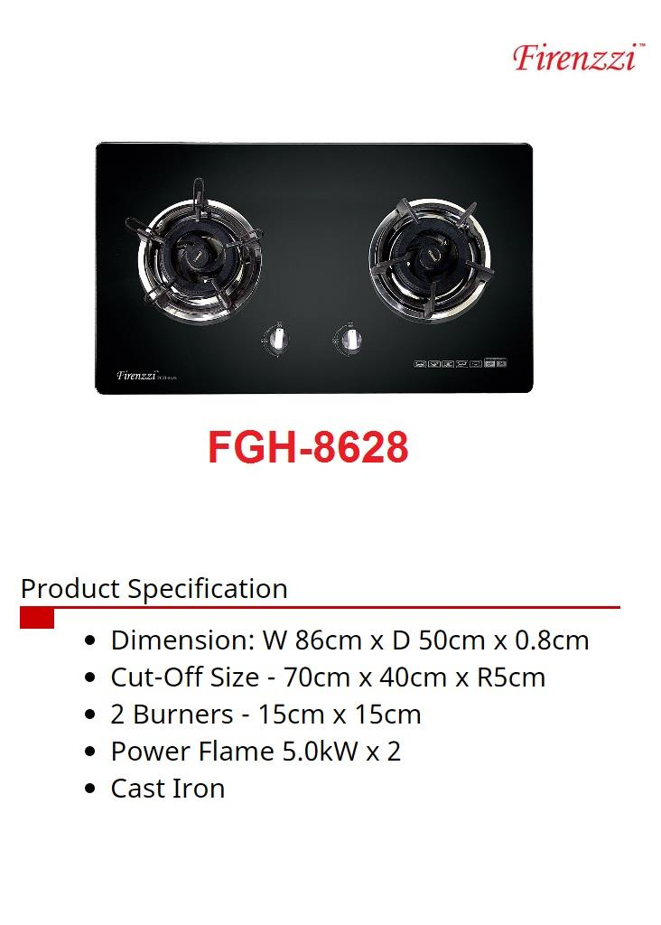 Firenzzi Glass Hob - With Safety Device (FGH-8628)