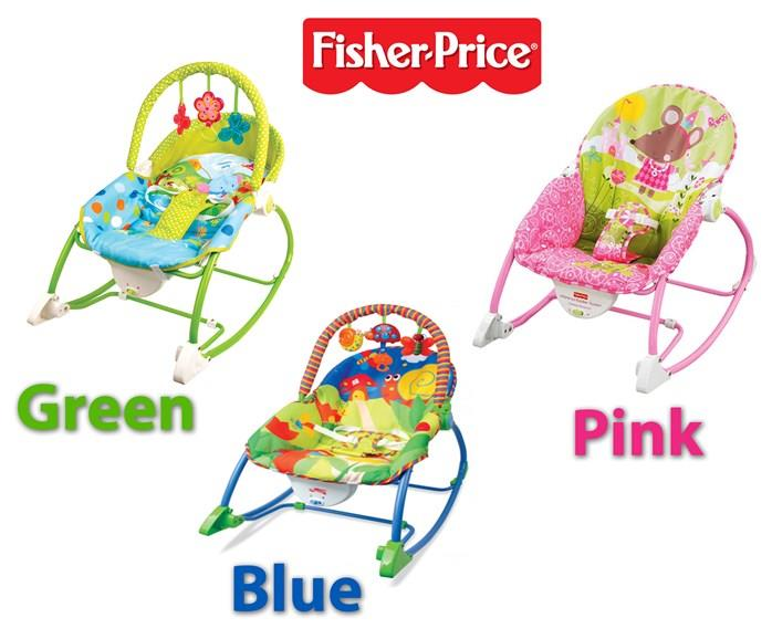 Fisher Price Infant Toddler Baby Rocker - Blue /Pink / Green Colour