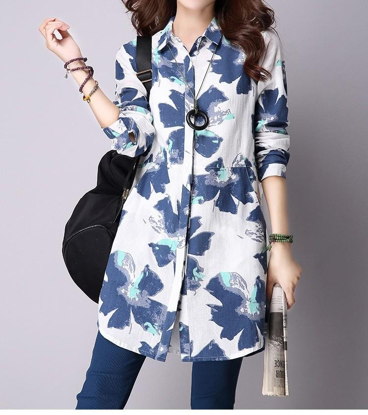 Floral Print Cotton Linen Blouses Plus Size Women Top With Pockets
