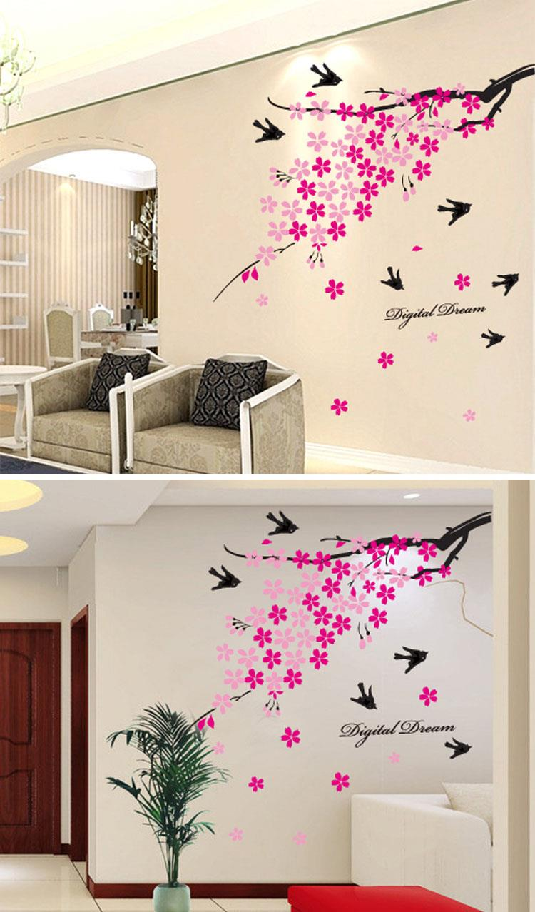 Flower Branches Swallow Wall Sticker W6042