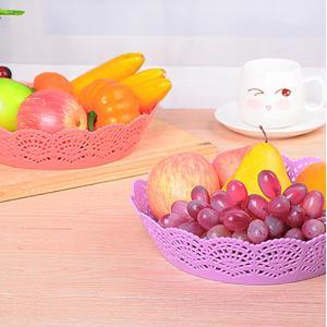Flower Side Hollow Candy Color Plastic Storage Basket (L)