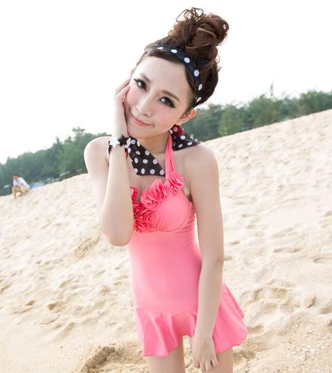 Flowery Bust Slim Tied Swim Dress ~ Pink/ Navy Blue