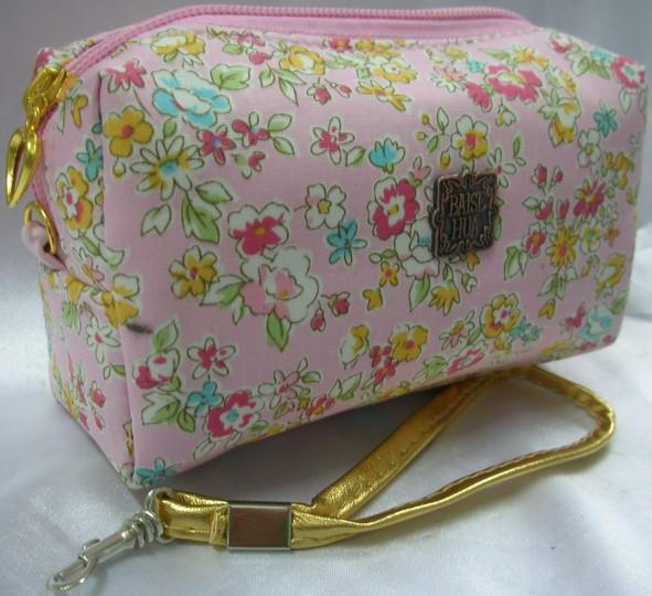 Flowery Design Clutch/Cosmetic Pouch (Pink)~ New