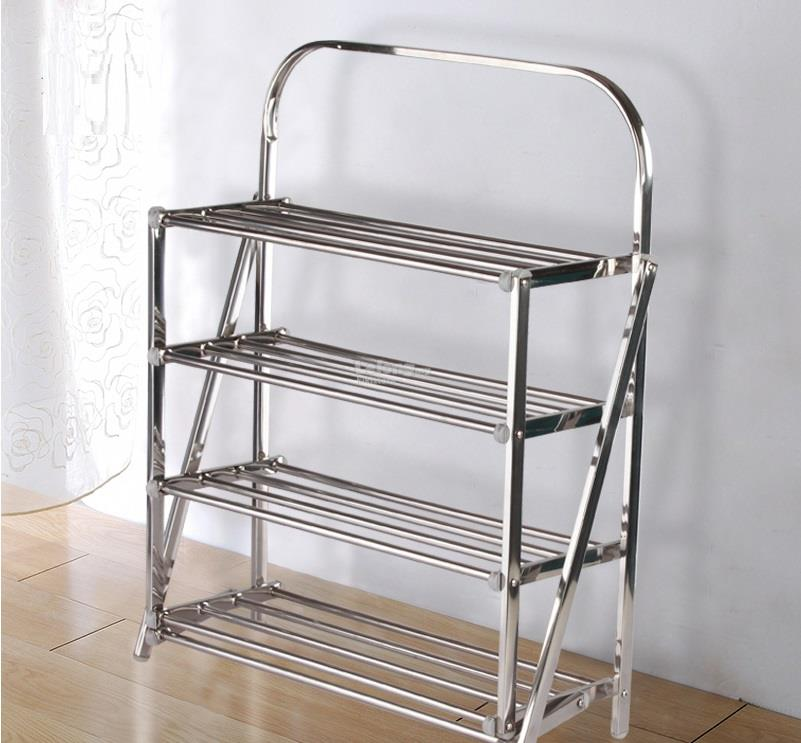 Foldable Easy Carry Stainless Steel 4 Tier Shoe Rack Organizer
