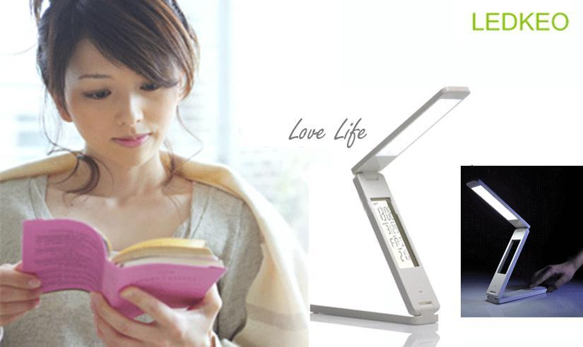 Foldable LED reading table lamp with calendar and alarm, rechargeable