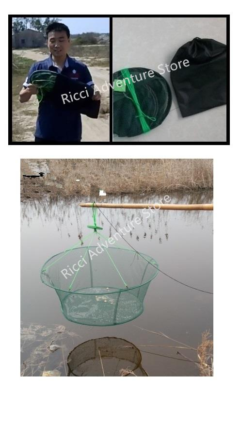 Foldable Portable Fishing Catch Fish Landing Net Cage Trap Round
