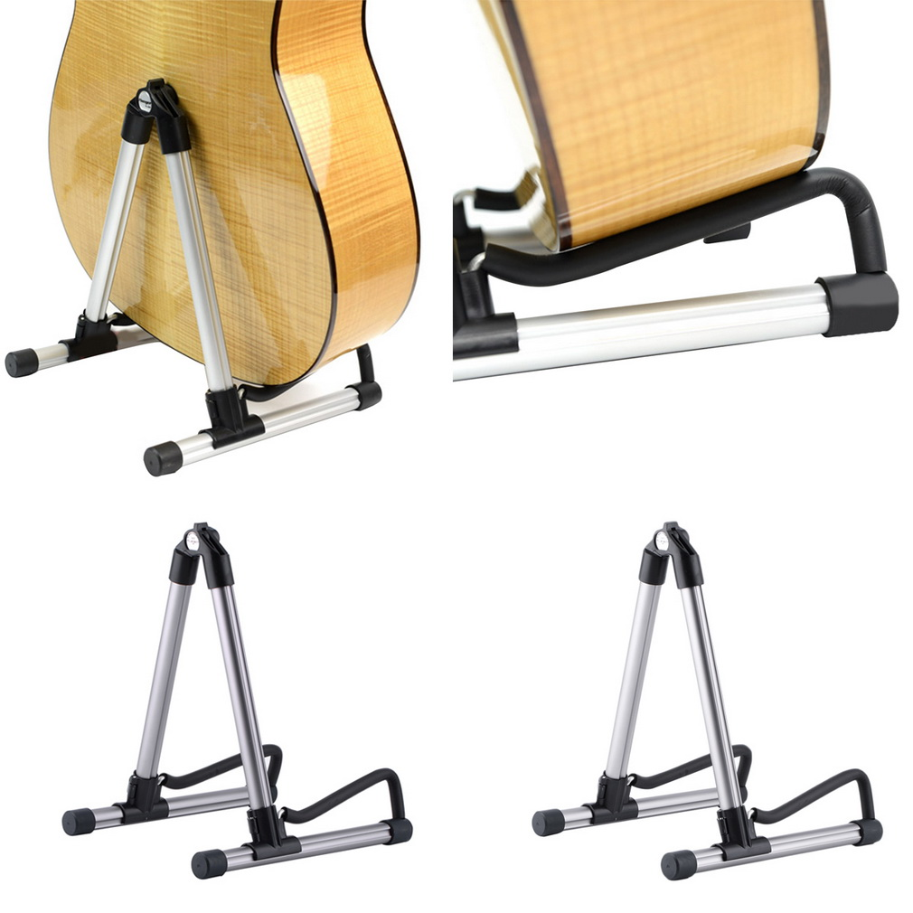 Folding Electric Acoustic Bass Guitar Stand A Frame Floor Rack Holder