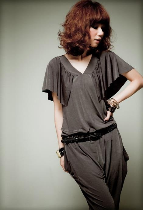 Font-Back V-Neck Butterfly Sleeves Radish Jumpsuit