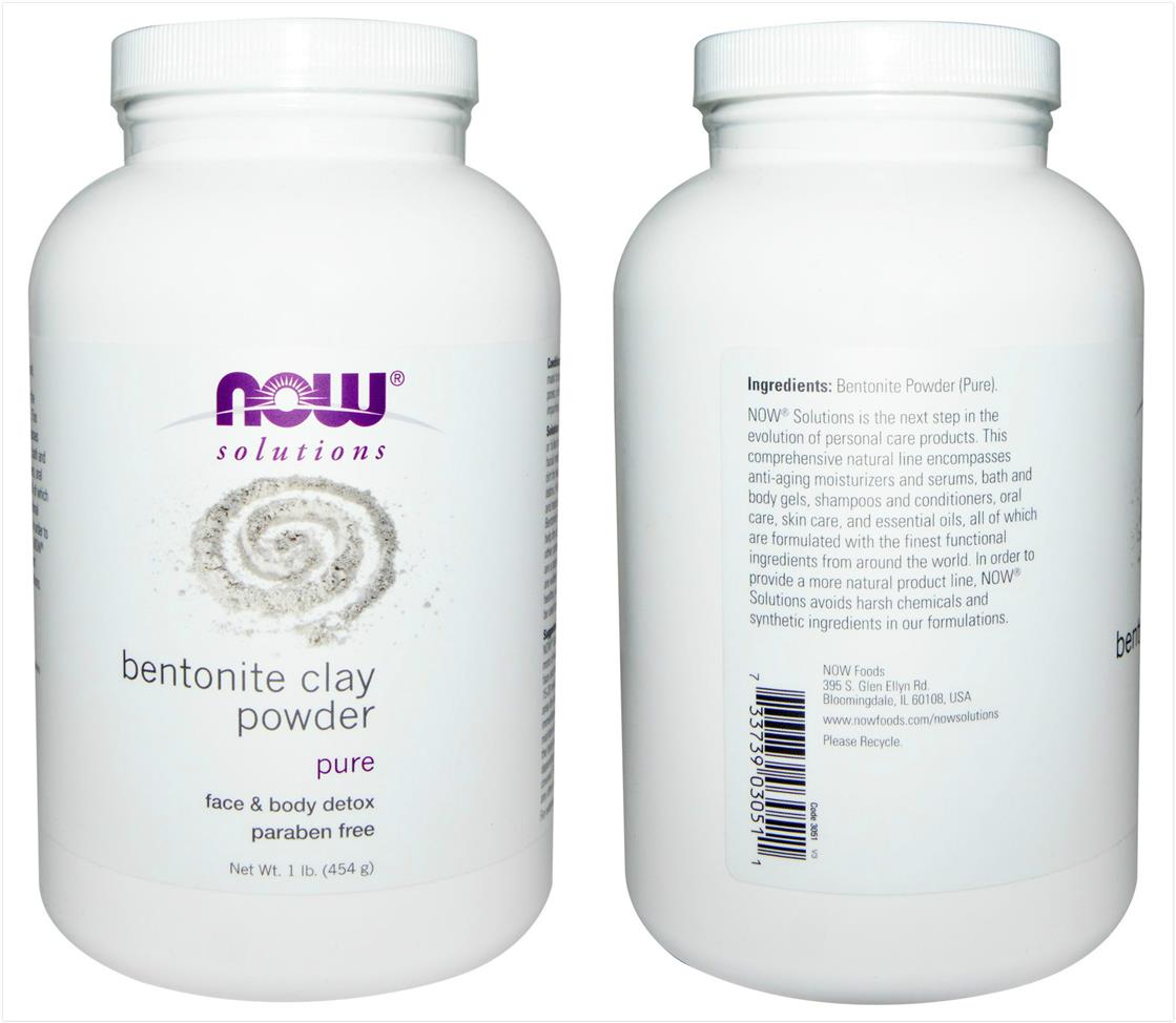Now Foods, 100% Pure Bentonite Clay Powder, Face & Body Detox (454 g)