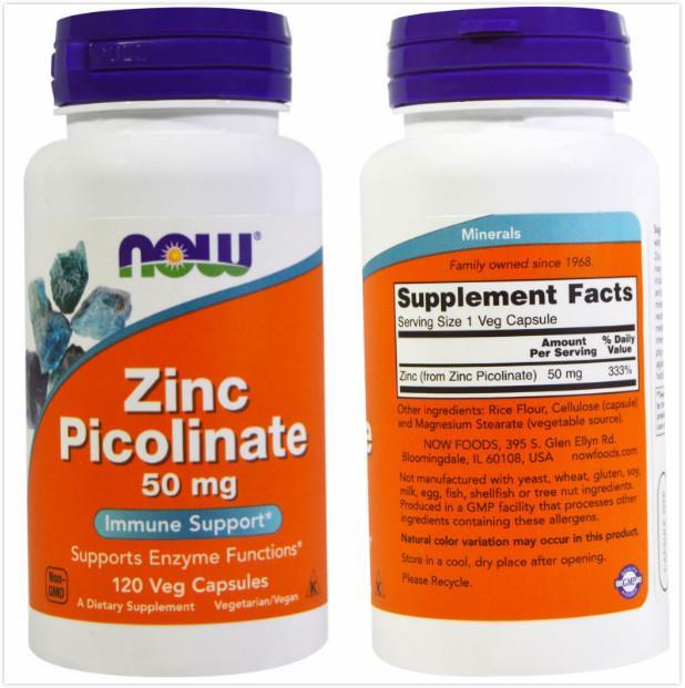 Now Foods, Zinc Picolinate, 50  mg, Support Enzyme Function (120 Vcaps