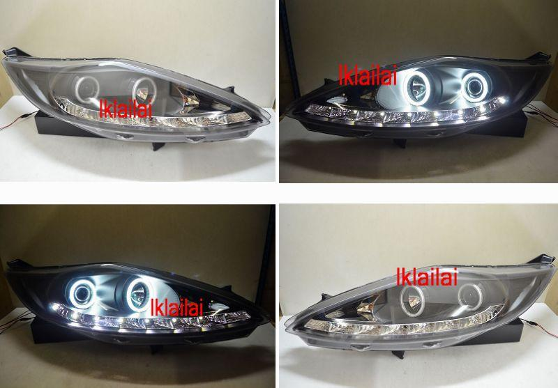 Ford Fiesta `09 Projector Head Lamp Crystal Black W/DRL + CCFL Ring
