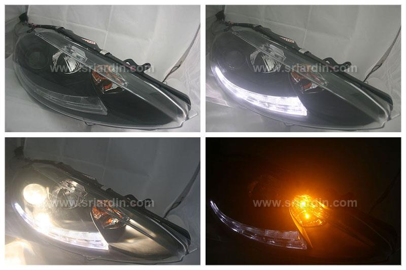Ford Fiesta 11-14 Black Face Projector Headlamp w LED