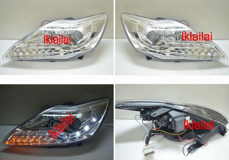 Ford Focus '09 Projector Head Lamp with LED Signal [Chrome Housing]