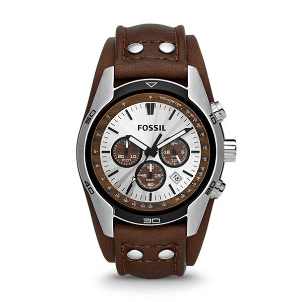 Fossil CH2565 Coachman Chronograph Brown Leather Watch with Warranty