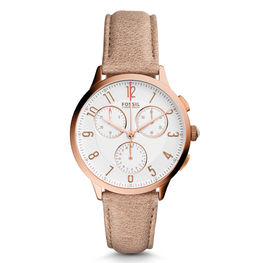 Fossil CH3016 Women's Abilene Chronograph Light Brown Leather Watch