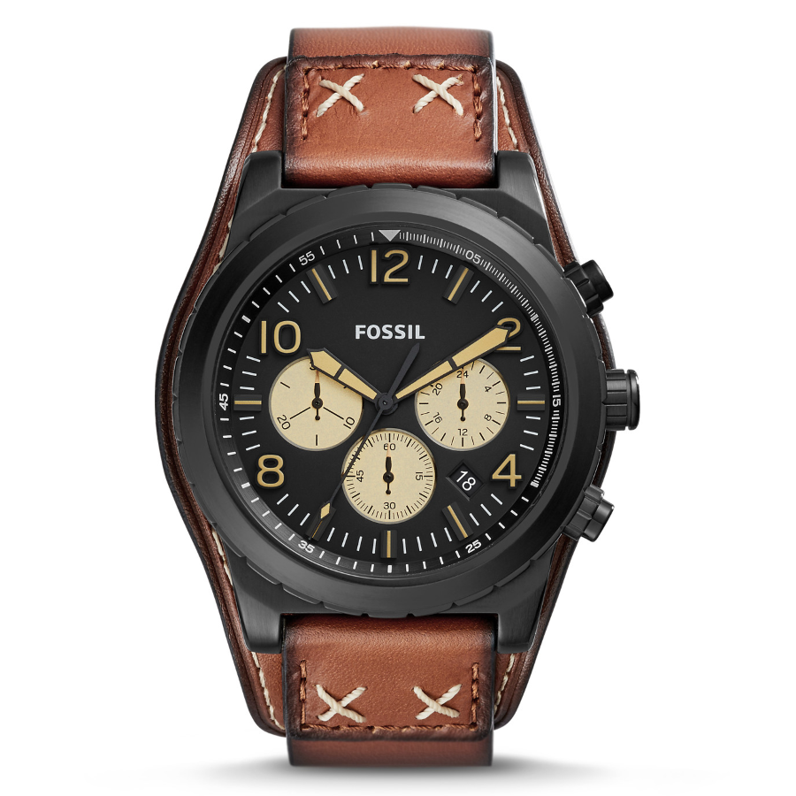 Fossil CH3066 Men's Oakman Chronograph Luggage Leather Watch