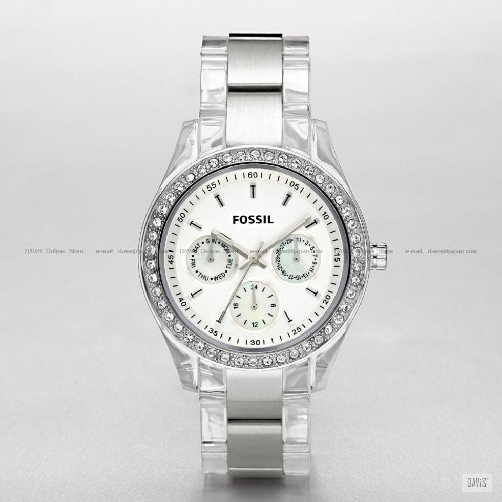 FOSSIL ES2821 Women Analogue Stella Watch Crystal Resin Bracelet White