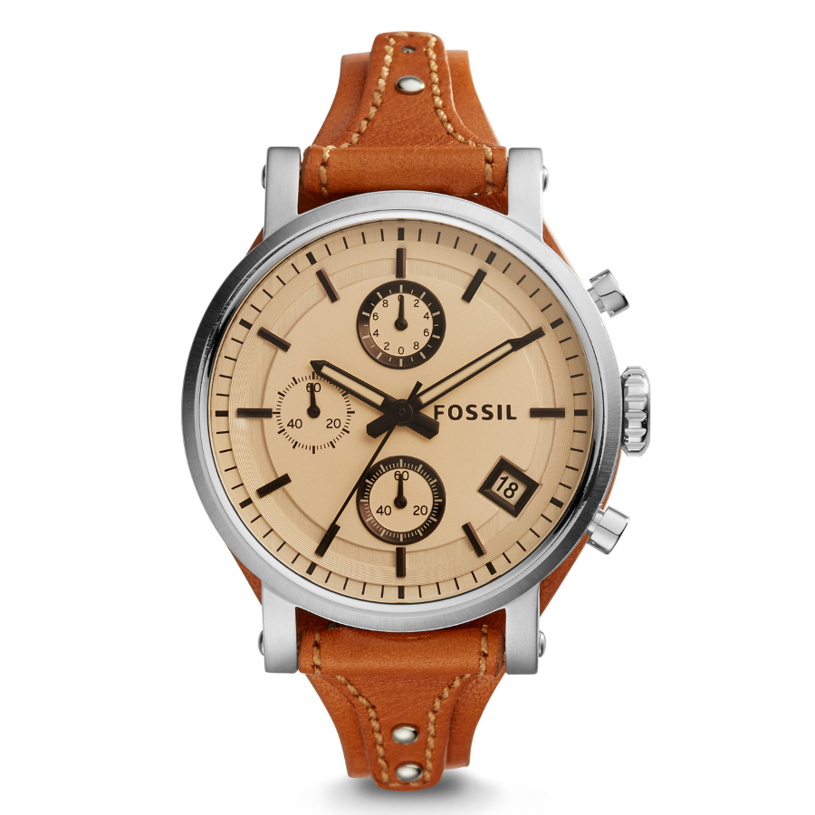 Fossil ES4046 Women's Original Boyfriend Sport Chronograph Leather Wat..