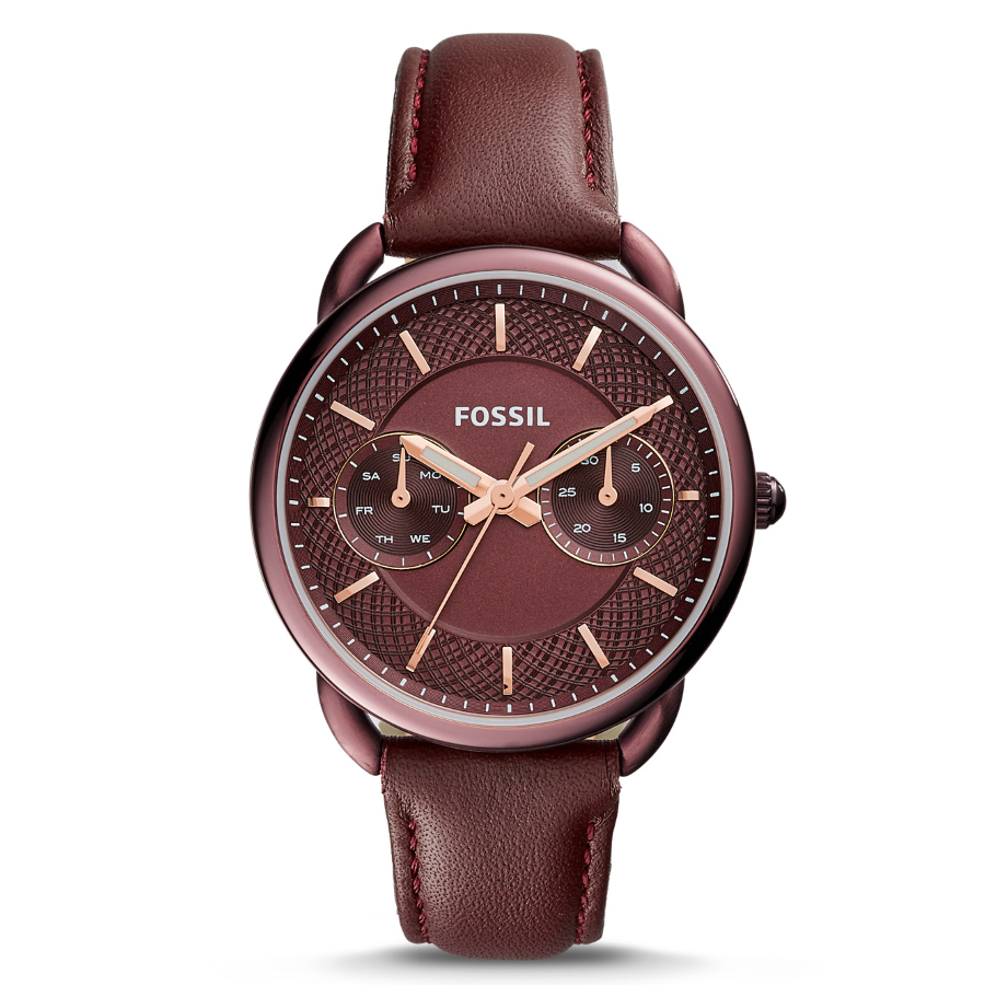 Fossil ES4121 Women's Tailor Multifunction Wine Leather Watch