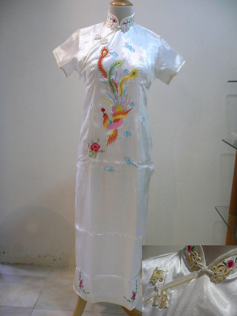 Free Poslaju- 'Cheongsam' Phoenix Long Dress -White (XL)