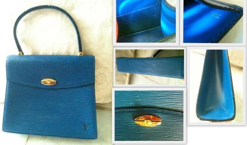 Free Poslaju - Malesherbes Hand Bag Epi Leather Blue MI0962