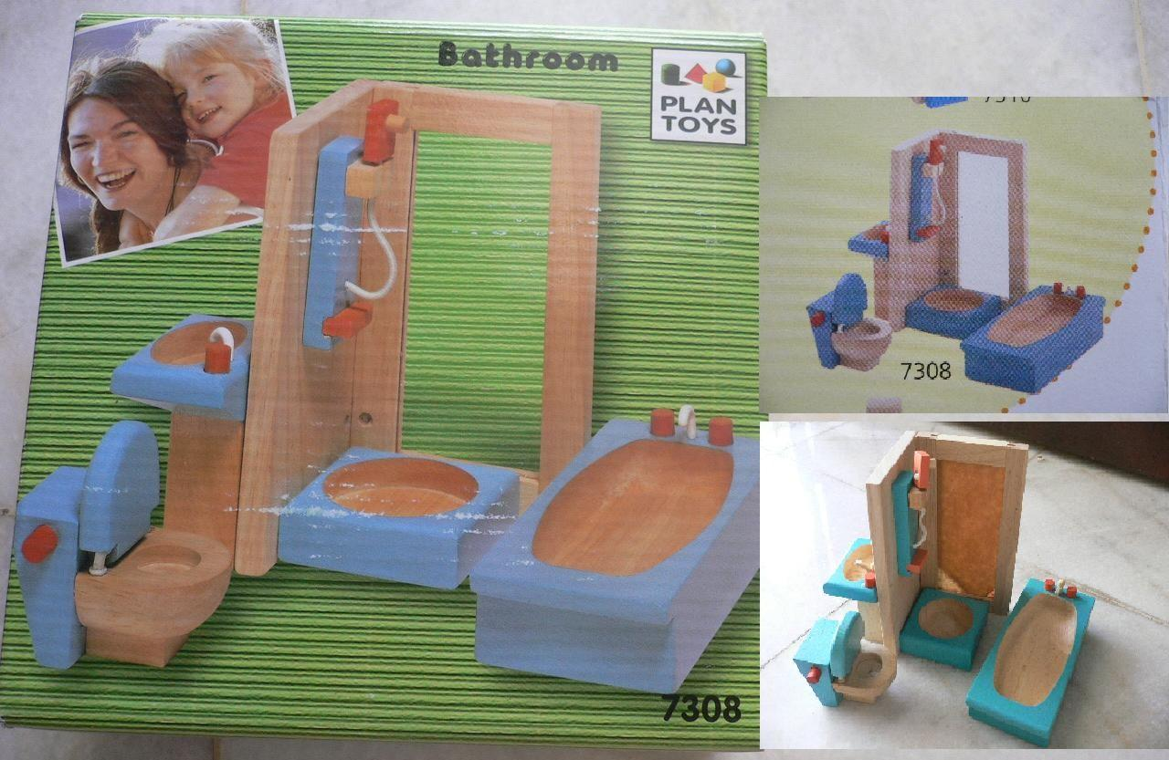 Free Poslaju-'PLAN TOYS'  Wooden Bathroom( No.7308 )also for dollho