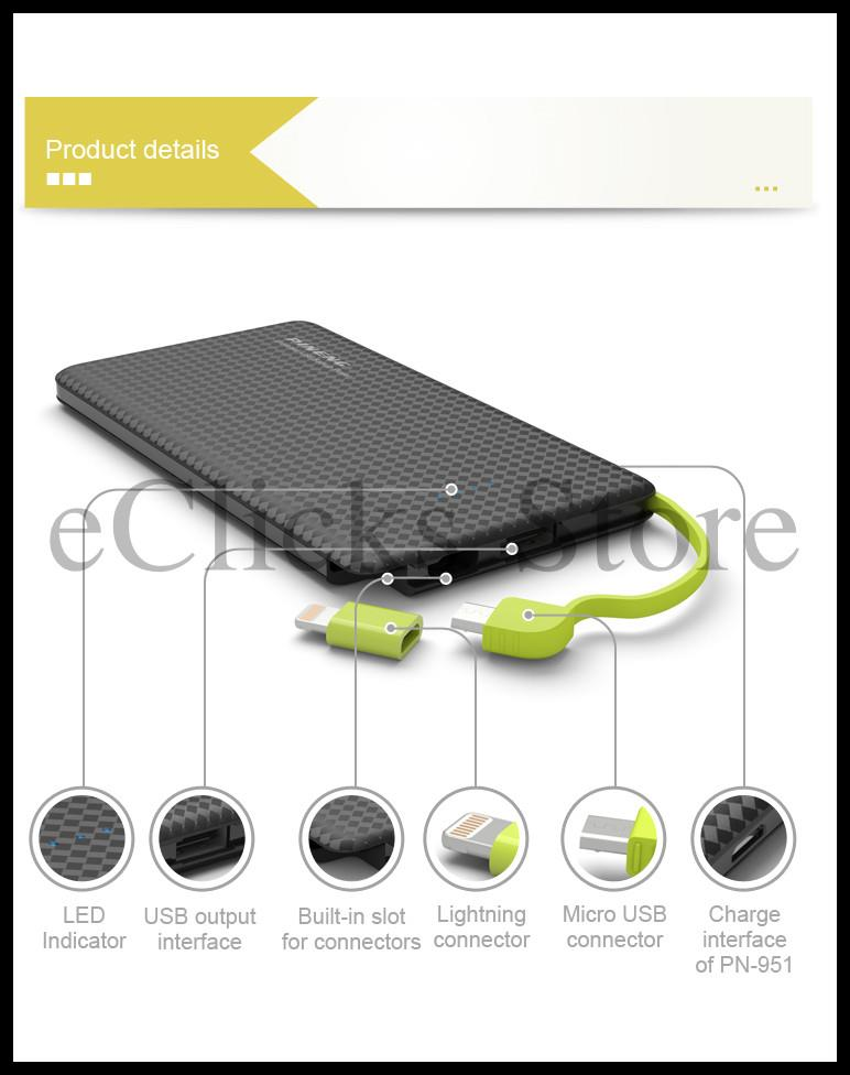 New~Free Pouch~ 100% Original Pineng PN-952 5000MAH Power Bank