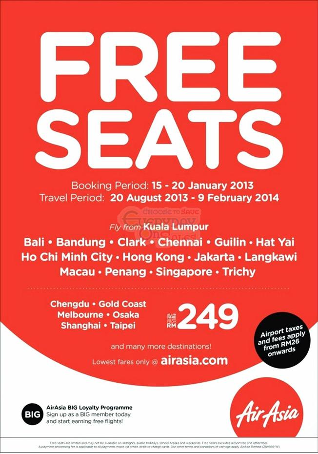 FREE SEATS with Tiket Percuma AirAsia Promotion 2013 to 2014
