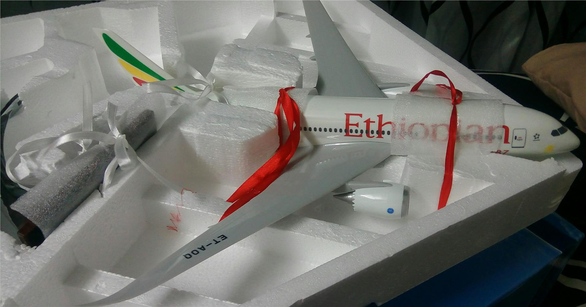 (Free shipping) 43cm Ethiopian Boeing 787 Aircraft Model S.Edition