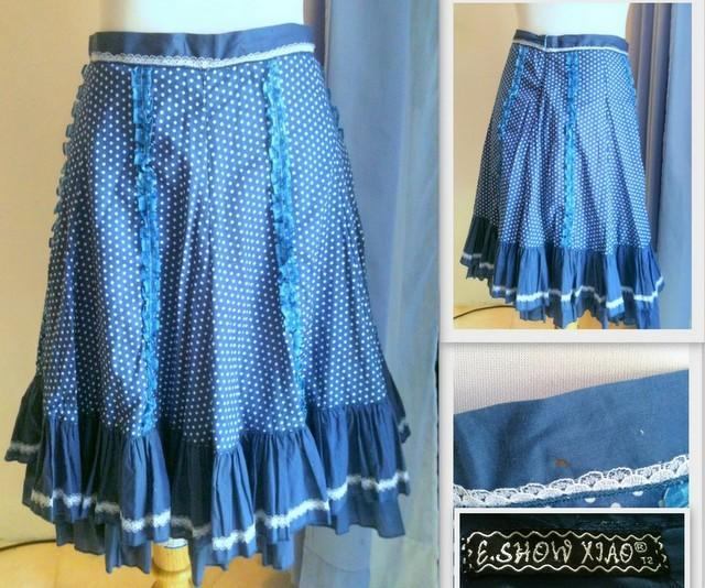 Free Shipping-CLEARANCE SALE- ''E.Show Xiao' White Spot Blue Skirt